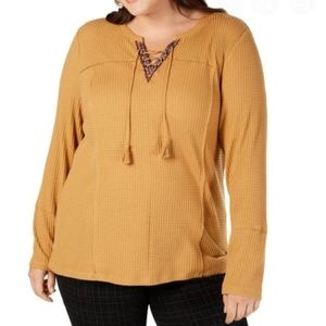 NWT Mustard Long Sleeve Thermal Lace Up V-Neck